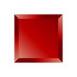 Botón cuadrado biselado rojo ilustración del vector