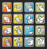Botón cuadrado con los animales pintados Imagen de archivo libre de regalías