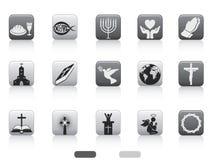 Botón cuadrado del icono cristiano Fotografía de archivo libre de regalías
