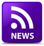 Botón cuadrado púrpura de las noticias (icono del RSS) stock de ilustración