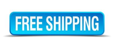 botón cuadrado realista azul 3d del envío gratis stock de ilustración