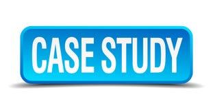 botón cuadrado realista azul 3d del estudio de caso stock de ilustración