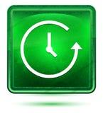 Botón cuadrado verde claro de neón del icono de la historia ilustración del vector