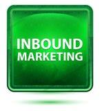 Botón cuadrado verde claro de neón del márketing de entrada libre illustration