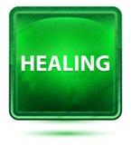 Botón cuadrado verde claro de neón de la cura stock de ilustración