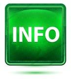 Botón cuadrado verde claro de neón de la información ilustración del vector
