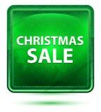 Botón cuadrado verde claro de neón de la venta de la Navidad libre illustration