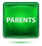 Botón cuadrado verde claro de neón de los padres foto de archivo libre de regalías