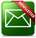 Botón cuadrado verde del hoja informativa Imagen de archivo libre de regalías
