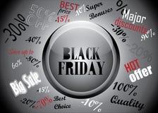 Botón de Black Friday y concepto de los descuentos Imágenes de archivo libres de regalías