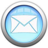 Botón de cristal azul del email Imagenes de archivo
