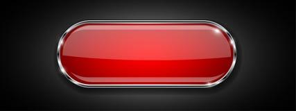 Botón de cristal rojo en fondo negro Icono brillante 3d con el marco metálico ilustración del vector