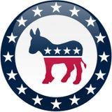 Botón de Democrat - blanco y azul Foto de archivo libre de regalías
