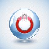 Botón de encendido azul vidrioso Fotografía de archivo libre de regalías