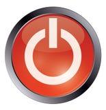 Botón de encendido brillante rojo en blanco Imagen de archivo