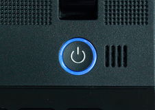 Botón de encendido del ordenador portátil. foto de archivo libre de regalías