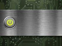 Botón de encendido encendido en la placa de metal Foto de archivo libre de regalías