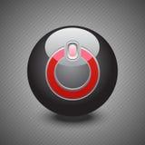 Botón de encendido negro brillante Imagen de archivo