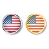 Botón de la bandera de los E.E.U.U. con vector de la plata y del oro Fotografía de archivo libre de regalías