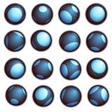 Botón de la bola de Techno en azul en un fondo blanco Fotos de archivo