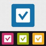 Botón de la caja de control - control Mark Sign - iconos coloridos del vector - aislados en fondo transparente Foto de archivo