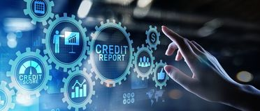 Botón de la cuenta del informe de crédito en la pantalla virtual Concepto de las finanzas del asunto foto de archivo libre de regalías