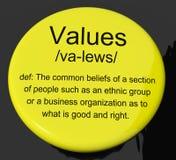 Botón de la definición de los valores que muestra virtud y moralidad de los principios Fotografía de archivo libre de regalías