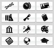 Botón de la educación fijado - blanco y negro Foto de archivo libre de regalías