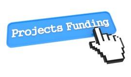 Botón de la financiación de proyectos con el cursor de la mano Imagenes de archivo