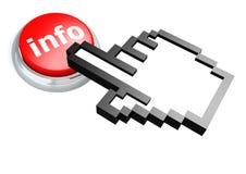 Botón de la información con el cursor de la mano Foto de archivo libre de regalías