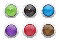 Botón de la marca de cotejo Fotografía de archivo