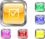 Botón de la marca de verificación Foto de archivo