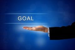 Botón de la meta en la pantalla virtual Foto de archivo