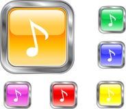 Botón de la nota de la música Foto de archivo libre de regalías