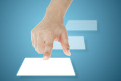 Botón de la pantalla táctil del presionado a mano Fotografía de archivo