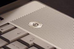 Botón de la potencia de la computadora portátil Imagen de archivo