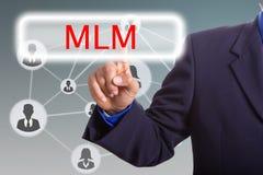 Botón de la prensa MLM del hombre de negocios para el mercado del establecimiento de una red Imágenes de archivo libres de regalías