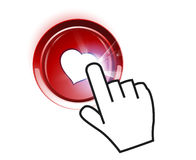 Botón de la tarjeta del día de San Valentín Foto de archivo libre de regalías