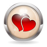 Botón de la tarjeta del día de San Valentín Fotografía de archivo