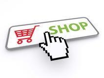 Botón de la tienda con el carro Imagen de archivo libre de regalías