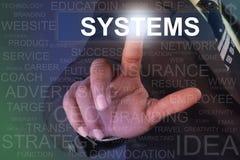 Botón de los sistemas conmovedores del hombre de negocios en la pantalla virtual Imágenes de archivo libres de regalías