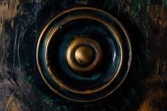 Botón de madera indio redondo de Coloreful foto de archivo libre de regalías