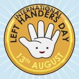 Botón de oro con la mano abierta para los zurdos internacionales día, ejemplo del vector Imagen de archivo libre de regalías