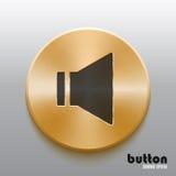 Botón de oro del altavoz con símbolo negro Imagenes de archivo