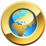 Botón de oro del globo Imágenes de archivo libres de regalías