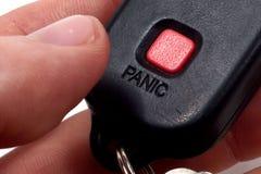 Botón de pánico rojo Imagenes de archivo