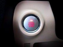 Botón de paro de comienzo del motor de coche fotografía de archivo
