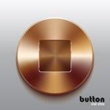 Botón de paro de bronce Fotos de archivo