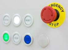 Botón de paro de emergencia Fotografía de archivo libre de regalías