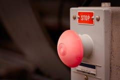 Botón de paro de emergencia del vintage Foto de archivo libre de regalías